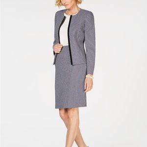 New Le Suit Petite Plaid Skirt Suit Career Work